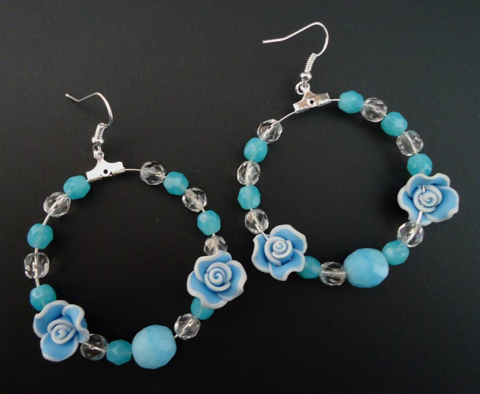 Hoop flower earrings